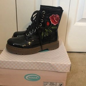 Embroidered Combat Boot